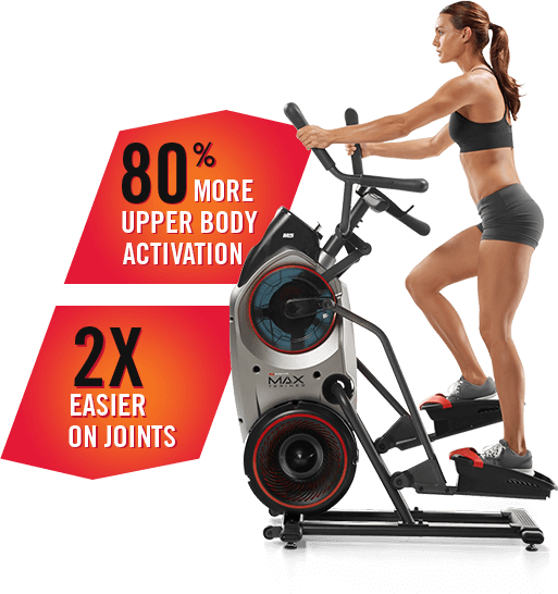 Total body workout with Max. 80% more upper body activation. 2X easier on joints.