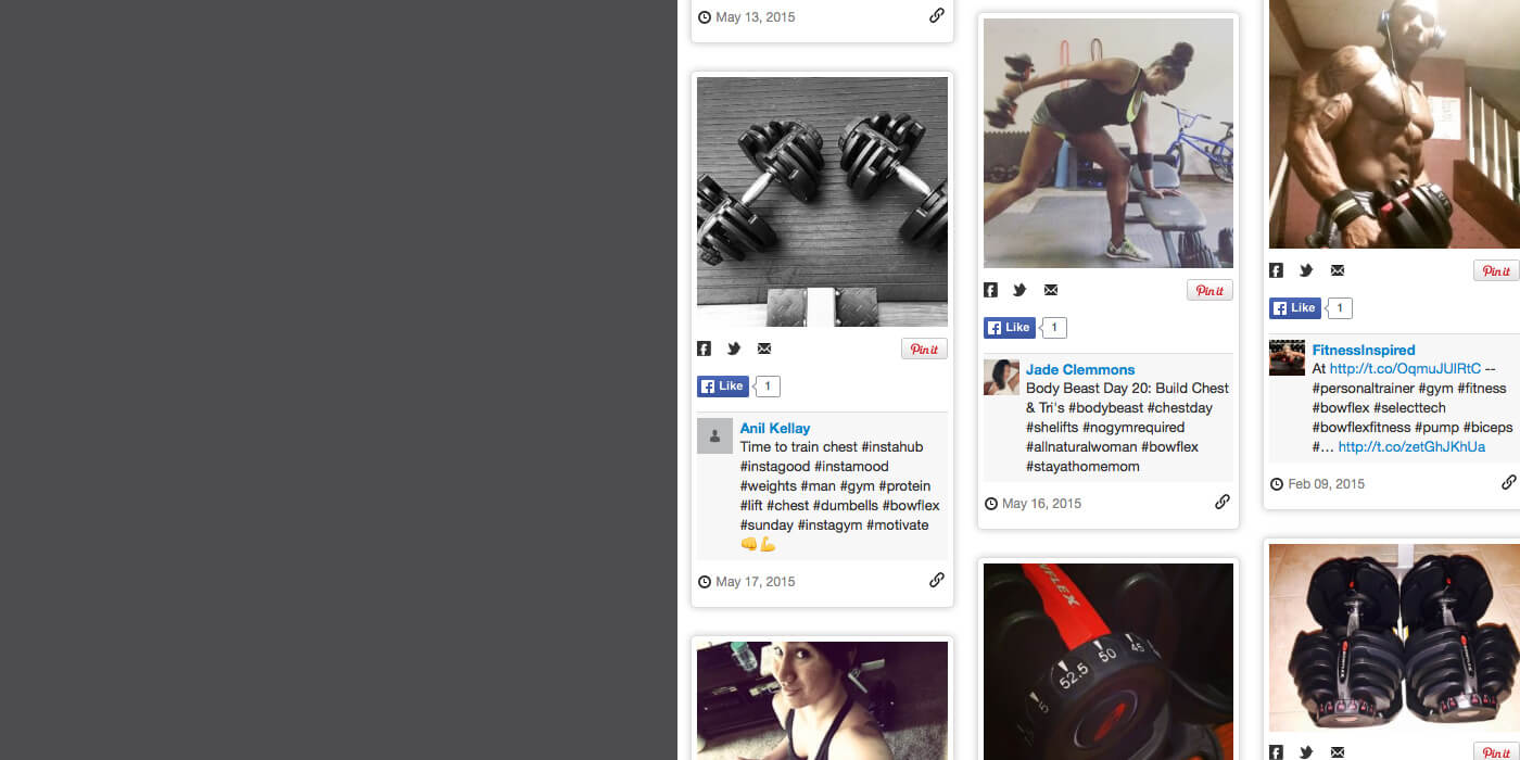 Bowflex SelectTech fans on social media