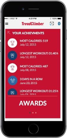 TreadClimber App - Achievement awards