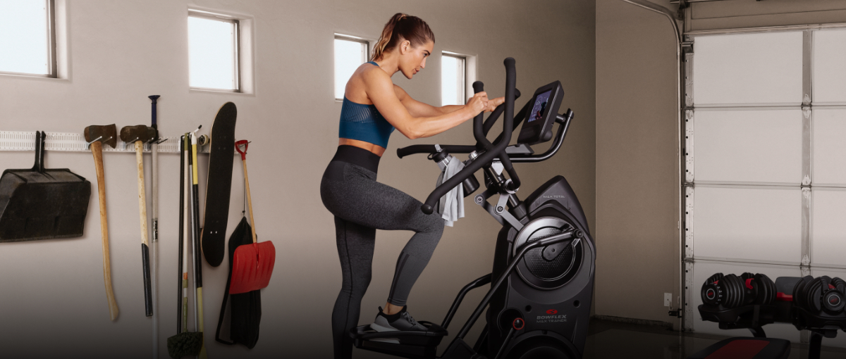Max Trainer compact elliptical placed in a garage.