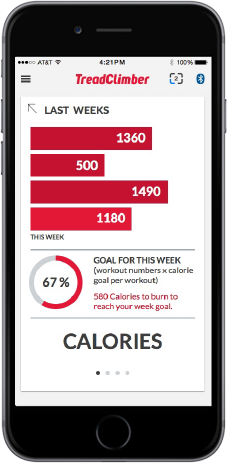 TreadClimber App - Weekly fitness goals